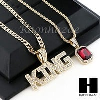 "RUBY KING PENDANT 24"" 30"" CUBAN LINK ROPE CUBAN CHAIN NECKLACE SET D012"