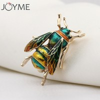 Cute Insect Bumble Bee Brooch for Kids Girls Women Birthday Christmas Gifts Gold Color Yellow Green Enamel Brooches Jewelry