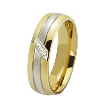1PCS Fashion Jewelry Cute 18K Gold Cubic Zirconia Ring For Womens And Mens,Titanium Steel Wedding Ring Couple Jewelry Set BY EZMAX