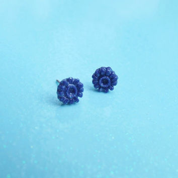Round Blue Glittery Flower Stud Earrings - Tiny Blossom Post Earrings - Delicate Spring Sparkly Flowers - Hypoallergenic Nickle Free