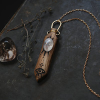 Saga • rainbow moonstone necklace - mystical necklace -  wood crystal necklace - witch jewelry - witch necklace - all seeing eye necklace