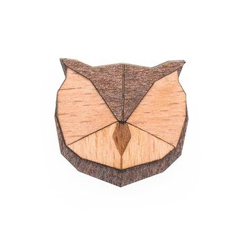 Wooden Owl Pin