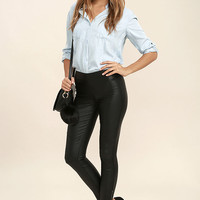 Sweet and Spicy Black Vegan Leather Leggings