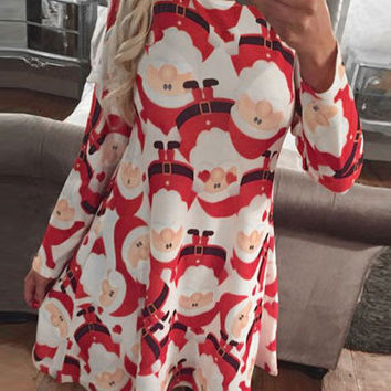 Red and White Santa Claus Printed Long-Sleeved Christmas A-Line Midi Dress