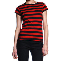 Juniors Red & Black Striped Cap Sleeve T-Shirt WHOLESALE LOT OF 8 TEES! ~ Size S