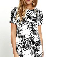 Lucy Love Charlotte Black and White Tropical Print Shift Dress