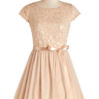 ModCloth Mid-length Cap Sleeves A-line Glistening to the Music Dress