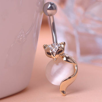 Gold Fox Body Piercings Navel Ring Belly Button Ring