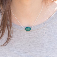 Turquoise Bead Necklace// Simple Gemstone Necklace