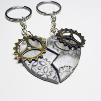 STEAMPUNK HEART - friendship key chain - BFF / best friends / boyfriend / girlfriend