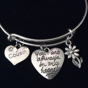 You are Always in My Heart Cousin Expandable Charm Bracelet Silver Adjustable Bangle Trendy Reunion Gift