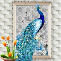 32*45cm Rhinestone  Crystal Home Decor  Embroidery Peacock Painting