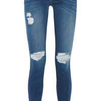 Current/Elliott - The Ankle Skinny distressed mid-rise jeans