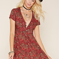 Paisley Button-Front Dress