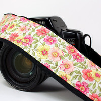 Camera Strap, dSLR, Pink, Coral, Yellow, Floral, SLR