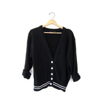 vintage preppy cardigan sweater. black knit sweater. slouchy prep school cotton button up sweater. womens small