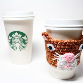 Cat Coffee Cozy, Kitty Coffee Sleeve, Animal Crochet Can Koozie, Travel Mug Cup Holder, Drink Sleeve