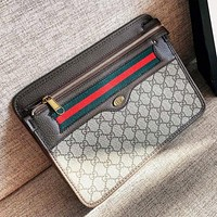 GUCCI Simple Retro Stripe Men Women Leather Envelope Bag Office Bag Clutch Bag Tote Handbag