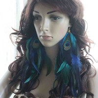 59a9-11 fashion beautiful Natural Feather Earrings Jewelry 1 pair lhf130702