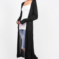Single Sweep Open Front Maxi Cardigan