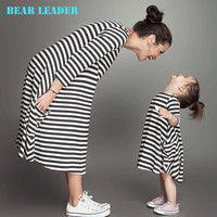 New Spring&Summer Style Family Matching Outfits Mother And Daughter Fall Full Balck Striped Dress