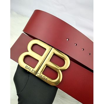 Balenciaga 2019 new women's classic double B letter buckle belt red