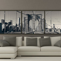 New York Brooklyn Bridge Canvas Wall Art, Black and White New York Photo, New York Art, New York City, Large Canvas, New York Bridge, Poster