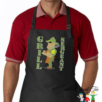 Grill Sergeant Funny Military Men's Apron BBQ Apron Father's Day Gift, Birthday Gift, Host Gift
