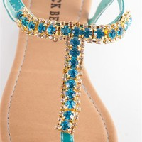 Jeweled Thong Sandals - Turq at Lucky 21 Lucky 21