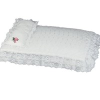 White Eyelet Doll Bedding 3pc. Set by Sophia's, Sized to Fit American Girl Doll Beds & More! - Includes Pillow, Doll Comforter & 3rd Bedding Piece