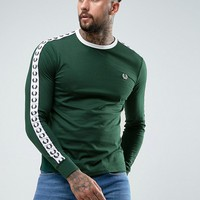Fred Perry Slim Fit Sports Authentic Taped Long Sleeve T-Shirt In Ivy Green at asos.com