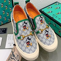 Alwayn Gucci Grey Shoes launches new Mickey series shoes buckle Print Flat Shoes