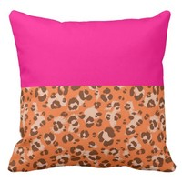 Orange Leopard Print Pillow