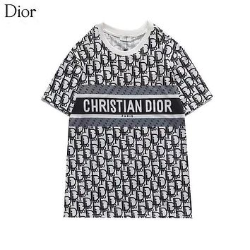 DIOR Women Fashion Short Sleeve Pure cotton Print Round collar Top