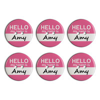 Amy Hello My Name Is Plastic Resin Button Set of 6
