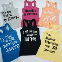 2 Workout Jersey Racer-Back Tanks FOR 25.90 - You Pick Two Same Size - Strong Confident YOU