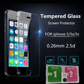 Ultra Thin 0.26 mm 2.5D Premium Tempered Glass Screen Protector For iPhone 5 5S 5c se HD Toughened Protective Film+ Cleaning Kit