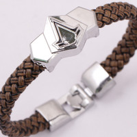 STAINLESS STEEL ASSASSINS CREED LEATHER BRACELET