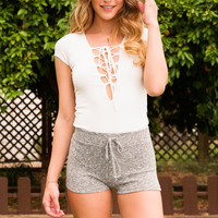 Constellations Lace Up Bodysuit - White