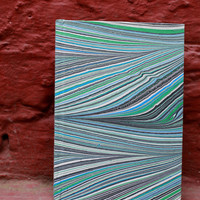 Marble Dip Dyed Painted Bound Stitched Handmade Notebook Art Journal Free Shipping Neem Stem Pencil