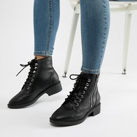 New Look Wide Fit Lace Up Flat Ankle Boot at asos.com