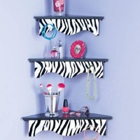 Sets of 3 Wooden Corner Shelves Black White Zebra Animal Print Jewelry Scarf Holder Accessories Hooks Organizer Wall Mounted Decor:Amazon:Everything Else