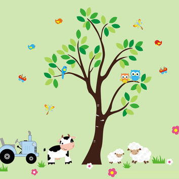 """Farm Wall Decals, Country Animal Farm Decals, Sheep Decal, Cow Decal, Tractor Decal, Farm Animal Stickers, Nature Wall Decals - 100"""" x 95"""""""
