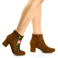 Autumn15s Chestnut By Bamboo, Floral Embroidery Ankle Bootie on Block Heel & Faux Fur Lining
