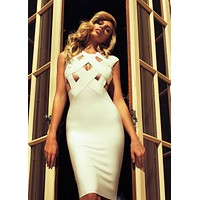 Simi Cut out Bandage Dress in White & Nude colors