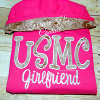 USMC Girlfriend Varsity pullover Usmc Girlfriend Usmc Wife Usmc Mom Marine Girlfriend Marine Wife Military Nametape bracelet