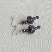 Dichroic Glass Earring with Amethyst and Sterling Silver, Statteam