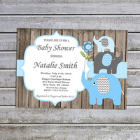 Baby Shower Invitations for Boys Elephant Baby Shower Invitation Printable Invites Blue (49dw) -Free Thank You Card - Instant Download