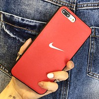 NIKE New fashion hook print couple protective cover phone case Red