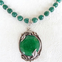 Green Agate Necklace, Silver Plated Agate Pendant, OOAK, Feminine Necklace